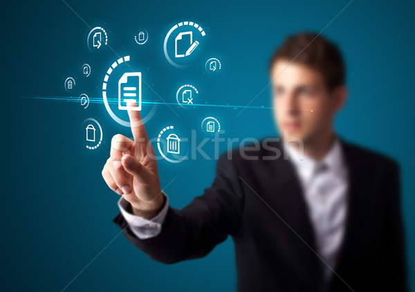 ビジネスマン バーチャル メッセージング タイプ アイコン ストックフォト © ra2studio