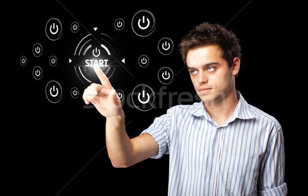 Stock fotó: üzletember · kisajtolás · egyszerű · kezdet · gombok