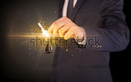 Fegyver alakú nő kéz lövedék ki Stock fotó © ra2studio