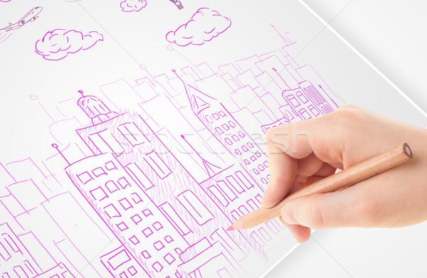 Persoon tekening schets stad ballonnen wolken Stockfoto © ra2studio