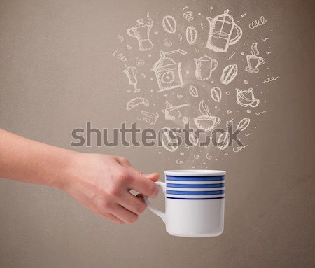 Coffee cup with abstract white steam Stock photo © ra2studio