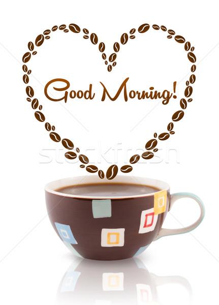 Tazza di caffè chicchi di caffè cuore buongiorno segno Foto d'archivio © ra2studio