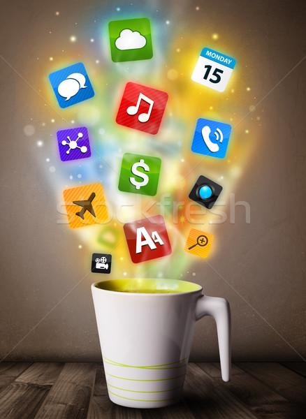 Kávésbögre színes média ikonok közelkép étel Stock fotó © ra2studio