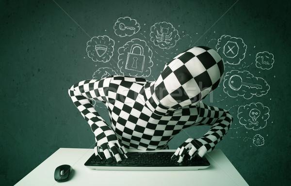 Hacker masker virus hacking gedachten groene Stockfoto © ra2studio