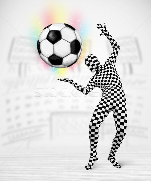 человека костюм футбольным мячом смешные рук Сток-фото © ra2studio
