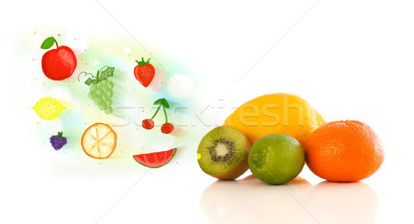 カラフル 果物 手描き 図示した 白 食品 ストックフォト © ra2studio
