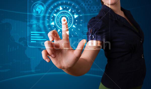 Stockfoto: Vrouw · hoog · tech · type · moderne