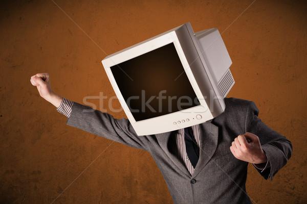 Zakenman monitor hoofd bruin business Stockfoto © ra2studio