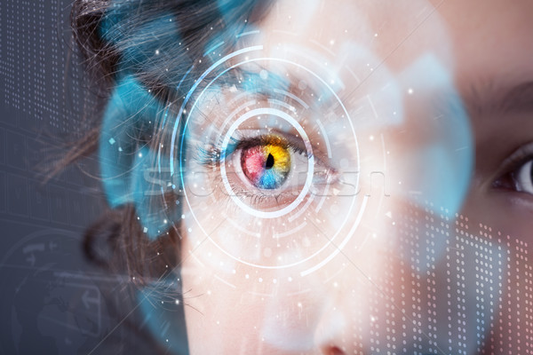 Stockfoto: Toekomst · vrouw · technologie · oog · paneel · computer