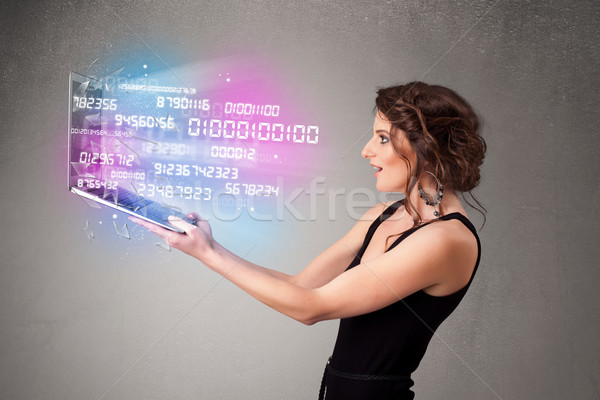 Frau halten Laptop Daten anziehend Stock foto © ra2studio
