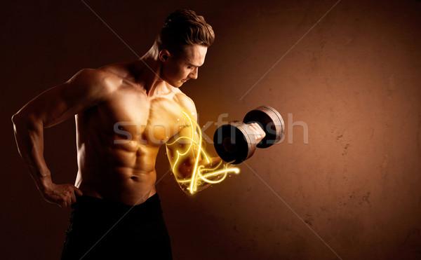 筋骨たくましい体 ビルダー 重量 エネルギー ライト ストックフォト © ra2studio