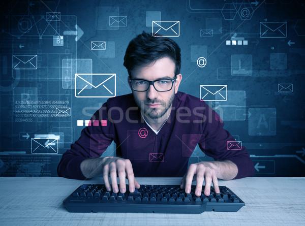 Betolakodó hackelés email tehetséges fiatal hacker Stock fotó © ra2studio
