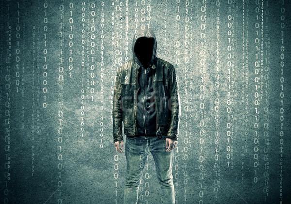 Boos mysterieus hacker nummers volwassen online Stockfoto © ra2studio