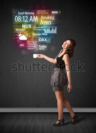 Femme d'affaires blanche tasse tous les jours nouvelles Photo stock © ra2studio
