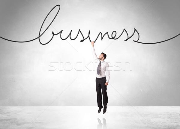 Akasztás üzletember üzlet kötél kéz segítség Stock fotó © ra2studio
