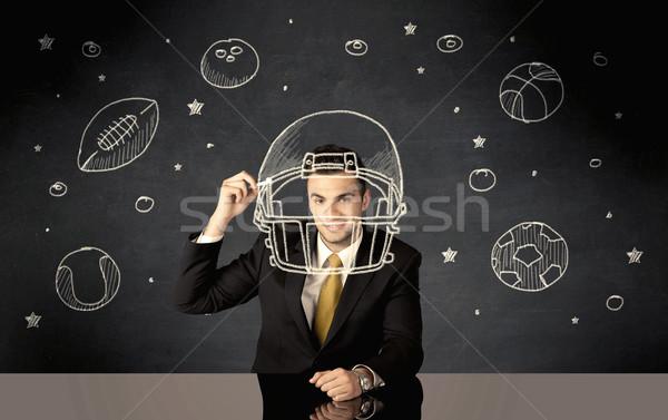 üzletember rajz sisak sport golyók boldog Stock fotó © ra2studio