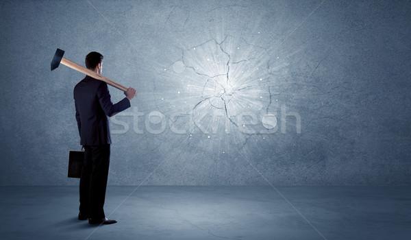 Iş adamı duvar çekiç iş taş Stok fotoğraf © ra2studio