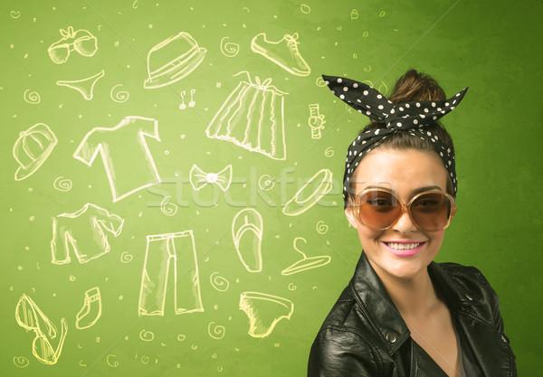 Boldog fiatal nő szemüveg lezser ruházat ikonok Stock fotó © ra2studio