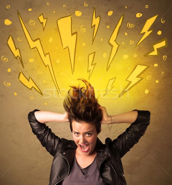 Fiatal nő hajstílus kézzel rajzolt boldog fény háttér Stock fotó © ra2studio