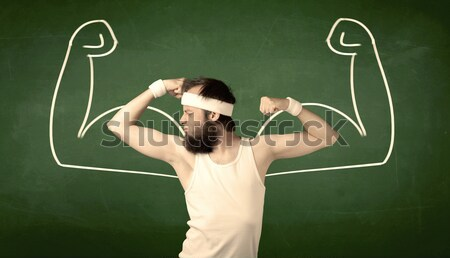 Skinny student wants muscles Stock photo © ra2studio