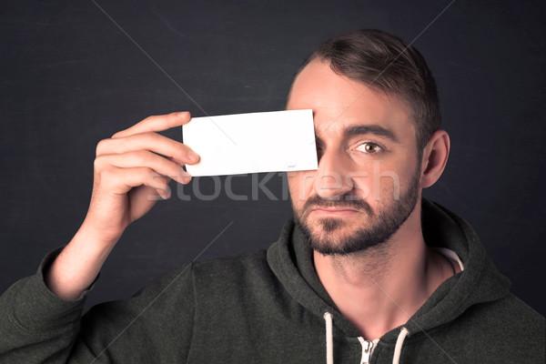Foto stock: Homem · bonito · cópia · espaço · papel · olho · cara