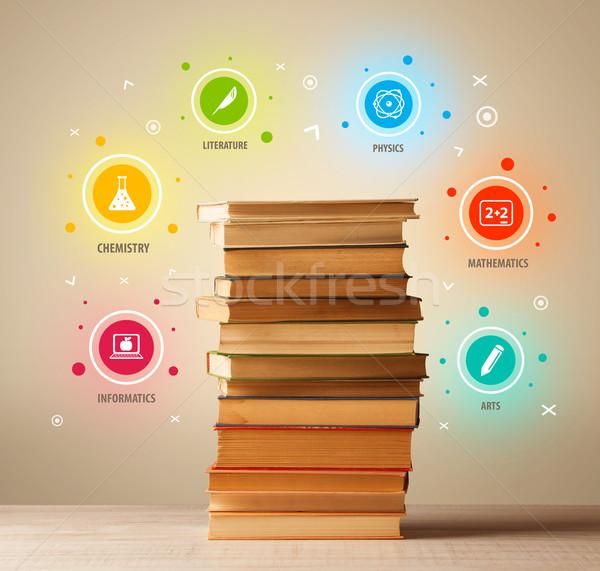 Könyvek felső színes szimbólumok klasszikus öreg Stock fotó © ra2studio