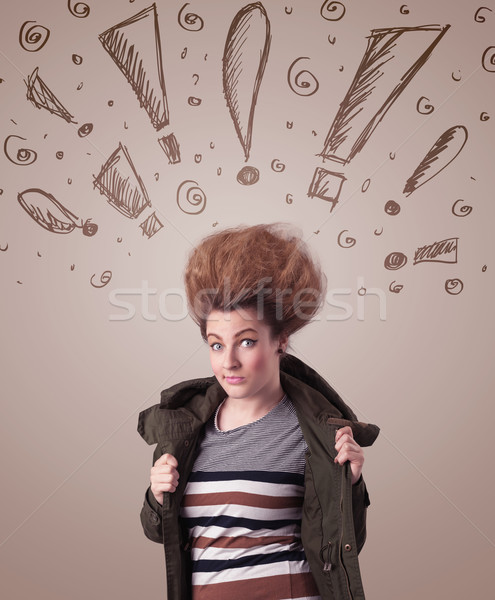 Fiatal nő hajstílus kézzel rajzolt feliratok haj háttér Stock fotó © ra2studio
