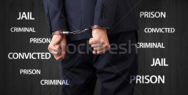 Blisko kajdanki więzienia więzienia przestępca Zdjęcia stock © ra2studio