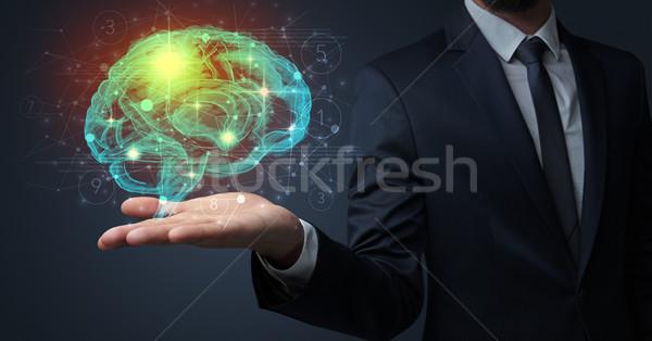 Homem cérebro humano mão empresário logística Foto stock © ra2studio