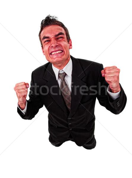 Enojado hombre de negocios rojo cara aislado blanco Foto stock © ra2studio