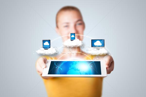 Stockfoto: Jonge · vrouw · tablet · moderne · abstract