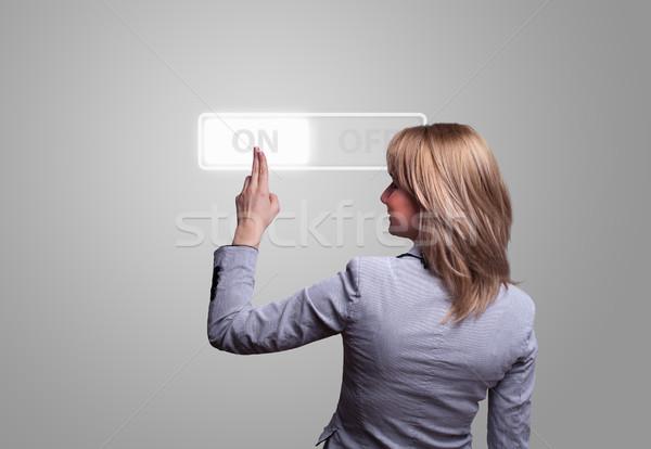 Kadın el düğme teknoloji arka plan Stok fotoğraf © ra2studio