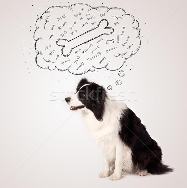 Juhászkutya gondolatbuborék gondolkodik csont aranyos feketefehér Stock fotó © ra2studio