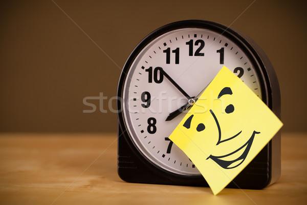Jegyzet mosolygós arc óra rajzolt ébresztőóra iroda Stock fotó © ra2studio