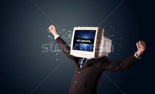 男 モニター 頭 信号 にログイン ストックフォト © ra2studio