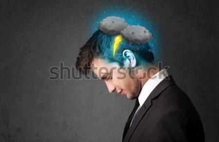 Man onweersbui bliksem hoofd hemel groep Stockfoto © ra2studio