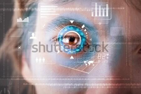 Modernen Soldat Ziel Matrix Auge Mann Stock foto © ra2studio