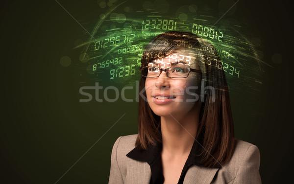 деловой женщины глядя высокий Tech числа компьютер Сток-фото © ra2studio