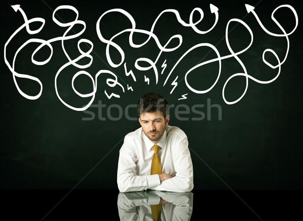 Bunalımlı işadamı oturma yön hatları Stok fotoğraf © ra2studio