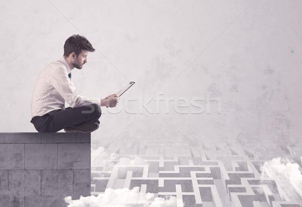 座って セールスマン 屋上 迷路 ビジネス ワーカー ストックフォト © ra2studio