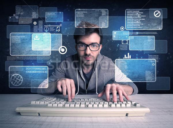 Inek öğrenci gözlük web siteleri genç hacker Stok fotoğraf © ra2studio