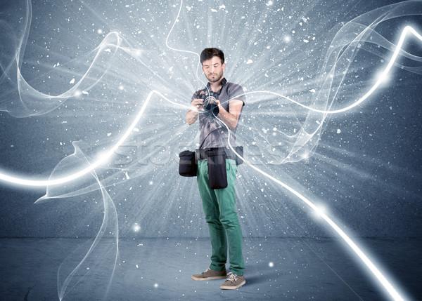 Foto stock: Profesional · fotógrafo · dinámica · líneas · jóvenes · amateur