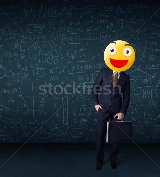 Empresário amarelo rosto sorridente engraçado sorrir feliz Foto stock © ra2studio