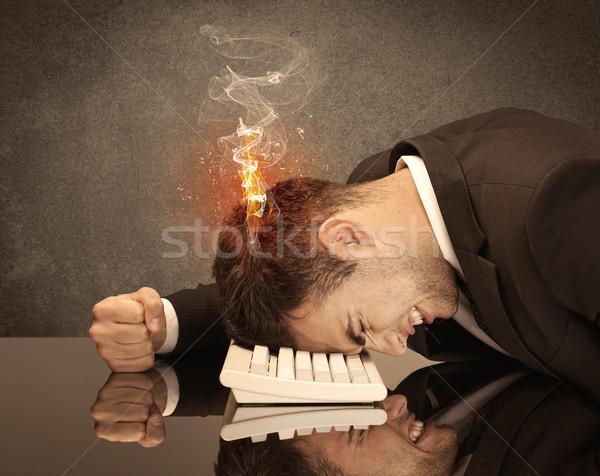 Szomorú üzlet személyek fej tűz csalódott Stock fotó © ra2studio