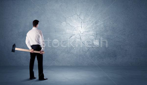 деловой человек стены молота служба здании Сток-фото © ra2studio