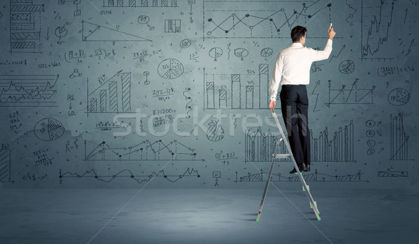 человека лестнице рисунок бизнесмен современных Сток-фото © ra2studio