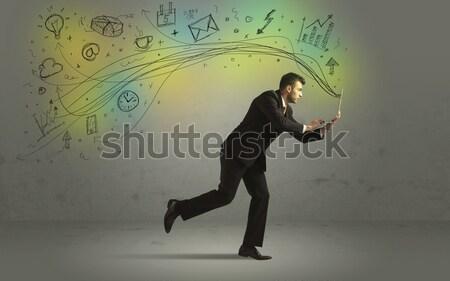 üzletember sietség firka média ikonok kézzel rajzolt Stock fotó © ra2studio