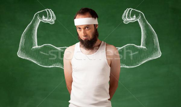 тощий молодым человеком молодые мужчины борода Сток-фото © ra2studio