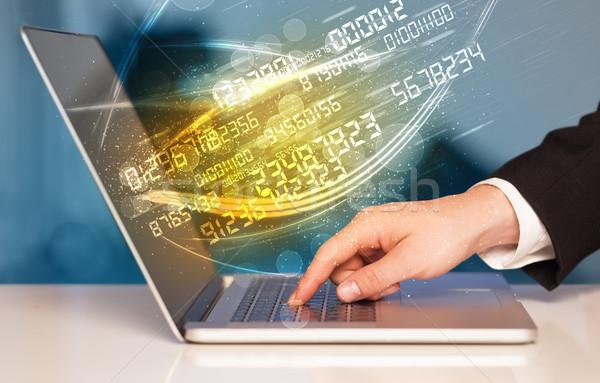 человека набрав современных ноутбук числа технологий Сток-фото © ra2studio
