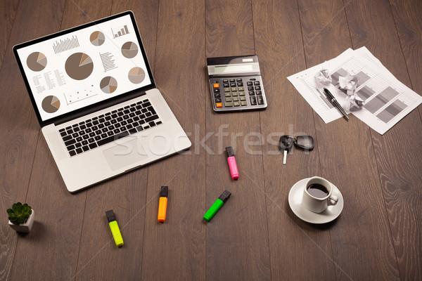 ストックフォト: 円グラフ · グラフ · アイコン · ノートパソコン · 画面 · オフィス